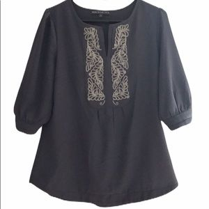 Brixton Ivy M loose fitting gray top 3/4 sleeve
